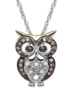 White and Brown Diamond Owl Pendant Necklace (1/10 ct. t.w.) in Sterling Silver and 14k Gold