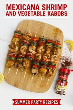 Start with flavor: Chili powder brings a warm kick to this grilled shrimp and veggies kabob recipe. Marinate seafood and summer veggies for a crowd-pleasing backyard cookout meal.