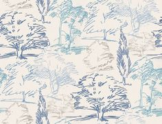 Aspen (211668) - Sanderson Wallpapers - A contemporary depiction of a woodland landscape drawn in a free-flowing sketch style. Shown in the Blue and Ivory colourway.  Paste the wall. Please request sample for true colour match.