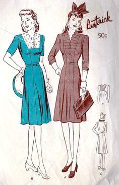 1940s Misses Princess Line Dress Vintage Sewing Pattern, Butterick 2683