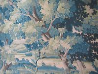 "COWTAN & TOUT CURTAIN FABRIC DESIGN ""Richmond"" 3.7 METRES GREEN/BLUE 100% LINEN"