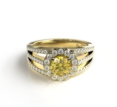 The Sun on your finger!  Roma, halo style #diamond #ring. Beautiful yellow colored #ethical diamond paired with yellow recycled gold. From #devindt,  also available in other colors