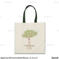 Apple tree kid's personalized library book budget tote bag by ArianeC