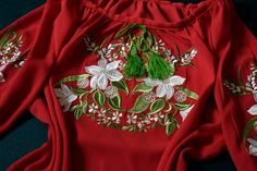 Red chiffon embroidered blouse Ukrainian shirt with lilies Ethnic clothing Boho ukrainian Chiffon blouse with rope belt Red Chiffon, Embroidered Blouse, Lilies, Clothing Ideas, Machine Embroidery, Christmas Sweaters, Decor Ideas, Boho, Shirts