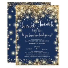 Beautiful Twinkle Little Star baby shower invitation featuring modern gold stars set on a blue background with trendy typography. Flip our boys baby shower invite over to view a coordinating back for an extra special touch. Star Baby Showers, Boy Baby Shower Themes, Baby Boy Shower, Baby Shower Decorations, Baby Shower Gifts, Baby Shower Invitation Cards, Baby Shower Invitations For Boys, Baby Invitations, Invitation Ideas