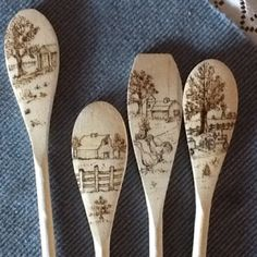 Patterns for wood burning Cute wood burned agricultural spoo scene - Brandkolbenkunst Wood Burning Tool, Wood Burning Crafts, Wood Burning Patterns, Wood Patterns, Wood Crafts, Diy Wood, Craft Patterns, Spoon Art, Wood Spoon