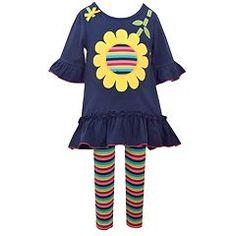 Toddler Girl Bonnie Jean Sunflower Applique Dress & Striped Leggings Set