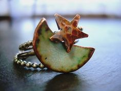 Moon and Star Stacking Rings Torch Fire Enamel by NatsukoJewelry, $65.00