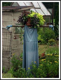 flower pot head scarecrow - Saltbox Farm Garden, Howard City, MI