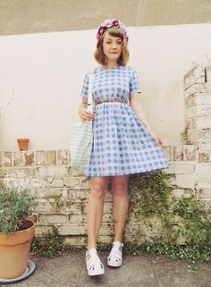 Gingham Dress, Floral Headband, White Sandals