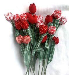 PAPs - tulipas e flor de fuxico com enchimento - Nana