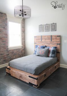 DIY Full or Queen Size Storage Bed Free Plans and Tutorial by Shanty2Chic!