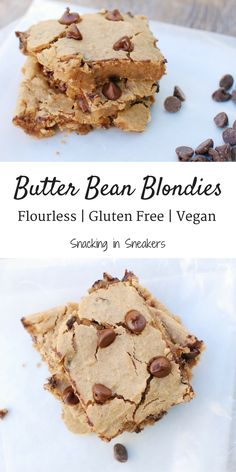 These butter bean blondies are the ultimate in healthy desserts!  They're flourless, gluten free, and vegan friendly.  Easy to make with just 8 simple ingredients.  Healthy Dessert Recipes   Clean Dessert Recipe   Blondies Recipe   Blondies Bars   Dairy Free Dessert