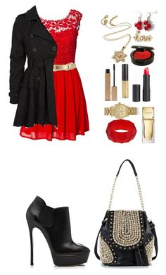 """""""Christmas Party In Black, Red & Gold"""" by vanessalafashionista ❤ liked on Polyvore featuring Club L, Michael Kors, Clarins, Casadei, Amrita Singh, MAKE UP STORE, River Island, Tory Burch, Steve Madden and NLY Trend"""