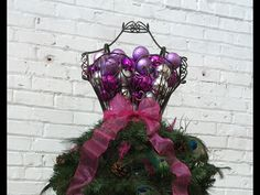 Love this? Buy it at Mannequin Madness!  Dress Form Christmas Tree with Peacock Feathers - Premium Style #2