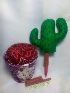 batik, kaktus, flanel, felt, cactus, tanaman, pen, in, pot, pulpen, makarame