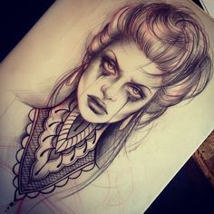 A thigh tattoo diy tattoo, tatto ink, tatoo art, medusa drawing, medusa tat Tattoo Sketches, Tattoo Drawings, Tattoo Girls, Zombie Girl Tattoos, Los Muertos Tattoo, Catrina Tattoo, Tatuaje Old School, Tattoos Geometric, 1 Tattoo