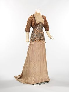 French silk and linen evening dress, 1910
