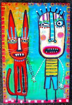 Tracey Ann Finley Original Raw Brut Canvas Painting WALKING ME CAT Graffiti art #OutsiderArt