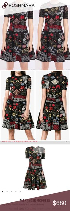 Alexander McQueen cross-stitch Intarsia dress S New without tag. Size S.  Please ask any questions I'm happy to assist. Alexander McQueen Dresses Mini
