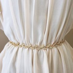 If we wanted more bling in our dresses?  THE GRACIE  Gold Boho Bridal Belt  Thin Gold Leaf by GlamHerBands