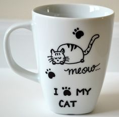 I Love My Cat Coffee Mug - Cat Lover Gift - Hand painted Meow Cup 10 oz by DreamAndCraft on Etsy https://www.etsy.com/listing/245507042/i-love-my-cat-coffee-mug-cat-lover-gift