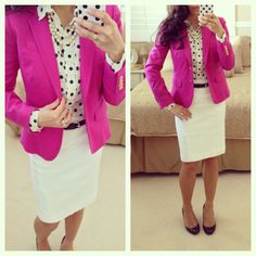 *J.Crew Schoolboy Pink Blazer and J.Crew polkadots + Ann Taylor white pencil skirt #OOTD
