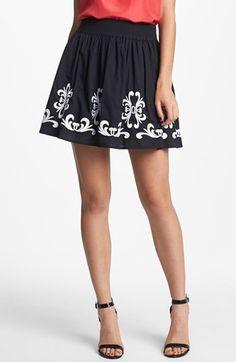 Hinge Embroidered Skirt Black