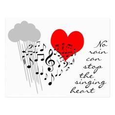 No rain can stop the singing heart funny postcard - love cards couple card ideas diy cyo