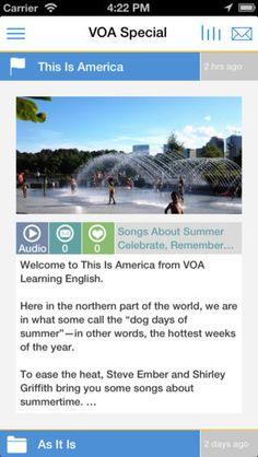 VOA Special - Learn American English 영어 공부 어플 아저씨가 아주 천천히 기사를 읽어 준다 자막과 함께 들을 수 있어서 매일 매일 듣는 다면 도움이 될듯 :)
