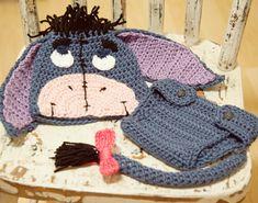 Crochet Eeyore Beanie and Diaper Cover