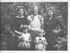 Our grandmother Magdalena Lumas in middle, Ciocia Anna Lumas on left (wife of Stanislaw Lumas), Ciocia Waleria Lumas on right (wife of Josef Lumas) and our cousins Basia  and Wiesia in Poland.