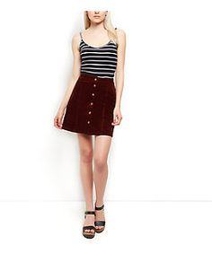 Corduroy Button Front A-Line Skirt | Clothes | Pinterest