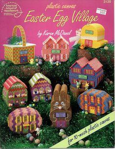 Plastic+Canvas+Easter+Egg+Village+Pattern+American+School+of+Needlework+3120