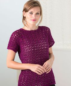 """Delectable T Top - free Redheart crochet pattern up to 56""""(finished) and uses 3.75mm hook"""