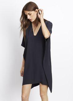 9542196e68cf2 Silk V-Neck Poncho Dress