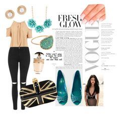 """""""Classically Tough in Teal"""" by avni7 on Polyvore featuring Topshop, Alexander McQueen, Ginette NY, Oscar de la Renta, Prada, Elegant Touch, topshop and poshmark"""