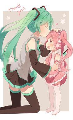 Hatsune Miku and Sakura Miku (child), by hitsukuya