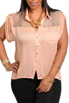 DHStyles Women's Dusty Pink Plus Size Sexy Sheer Studded Button Down Top - 3X #sexytops #clubclothes #sexydresses #fashionablesexydress #sexyshirts #sexyclothes #cocktaildresses #clubwear #cheapsexydresses #clubdresses #cheaptops #partytops #partydress #haltertops #cocktaildresses #partydresses #minidress #nightclubclothes #hotfashion #juniorsclothing #cocktaildress #glamclothing #sexytop #womensclothes #clubbingclothes #juniorsclothes #juniorclothes #trendyclothing #minidresses…