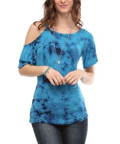 Another great find on #zulily! Sapphire Blue Tie-Dye Asymmetrical Cutout Tee by Urban X #zulilyfinds