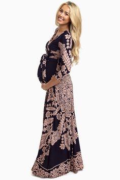 Navy-Blue-Pink-Printed-Draped-Maternity-Maxi-Dress