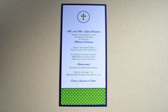 "This lovely invitation provides a preppy and masculine touch for a religious milestone, such as a baptism, confirmation, or religious wedding celebration. We can modify the paper and font colors to your specifications.  Size: 5"" x 7""   Shown: Solid White Paper (ink in Navy and Grass Green) with Shimmer Navy Blue Backer - Baptism Invitations with Cross"