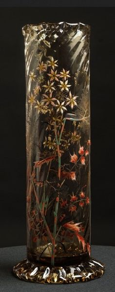 Emile Gallé VASE, VERS 1884-1889 AN ACID-ETCHED, ENAMELLED AND GILT SMOKED GLASS, CIRCA 1884-1889. SIGNED