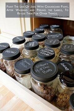 I'm always throwing jars away rather than washing and peeling the labels simply because the lids have labels that won't come off.  Why didn't I think of painting them, especially with chalkboard paint?