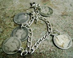 Queen Victoria ReginaCharm Bracelet (5) Three pence coin 1839/59/96/98 1900