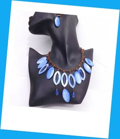 Bib Necklace Blue Mother of Pearl Shell by lyrisgems on Etsy, $45.00