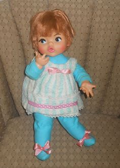"""Adorable Vintage 1960's 18"""" Ideal Baby Doll 1967. F-18-H-35"""