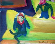 sillas amarillas 2. Venta de pinturas sobre trenes. Paintings of trains for sale. venda de pinturas de trens.