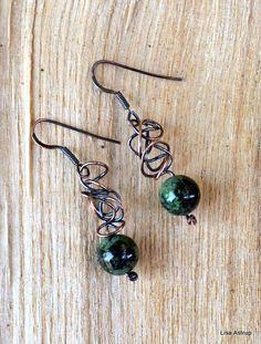 Dangle Earrings – Copper earrings - copper swirls, wire work – a unique product by lisaastrup on DaWanda