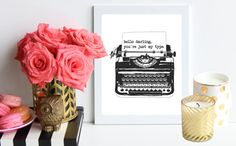Hey, I found this really awesome Etsy listing at https://www.etsy.com/listing/193223582/just-my-type-black-and-white-poster-art